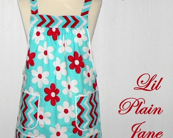 No Tie Apron (Lil Plain Jane in Aqua) Loose Fitting Pinafore Apron - all day apron, READY TO SHIP, smock apron, one of a kind