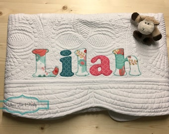 Personalized Baby Quilt, Personalized Baby Gift, Monogrammed Quilt, Baby Shower Gift, Baby Dedication Gift, Coral and Teal Baby