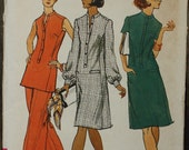 Vogue 8899 1970s 70s Nehru Mandarin Collar Tunic Dress Vintage Sewing Pattern Size 14 Bust 36 rare