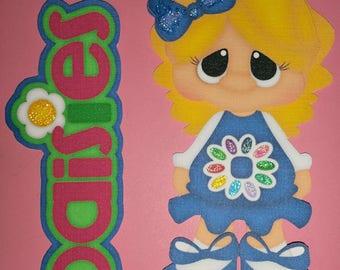 A027 3D Handmade Hand Cut Paper Piecing 2pc Set Girl Scout Daisies Scrapbooking Cardmaking Embellishment Die Cut
