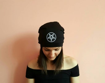 New! PENTAGRAM SLOUCHY BEANIE Hat | Black Slouchy Beanie | Evil Sign Hat | Coachella 2017 | Devil Sign | Goth Hats | Gothic Accessories