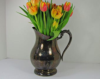 Vintage SILVERPLATE Water PITCHER Tarnish Patina WEDDiNG Vase F B Rogers Silver Plate