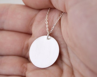 Eco-Friendly Silver Circle Necklace, Round Sterling Silver Necklace, Silver Necklace, Eco Jewellery, Recycled Sterling Silver : SciNlP