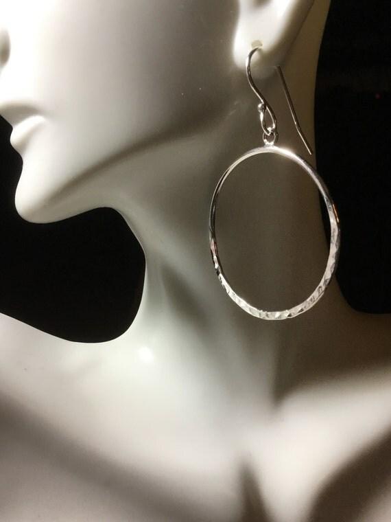 """Hammered Sterling Silver 2"""" Hoop Earrings, Sterling Silver, 925 Silver, Hand Forged, Metalcraft, Silver Earrings, Hoop Earring, SRAJD"""