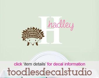 Hedgehog Wall Decal, Hedgehog Wall Art, Boys Hedgehog Decor, Vinyl Name Decal, Hedgehog Nursery, Hedgehog Vinyl Art, Girls Wall Decals
