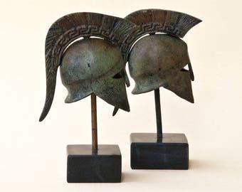 Bronze Metal Helmet, Greek Key Crest Helmet, Ancient Corinthian War Helmet, Museum Replica Art  Metal Sculpture, Office Decor, Gift for Him