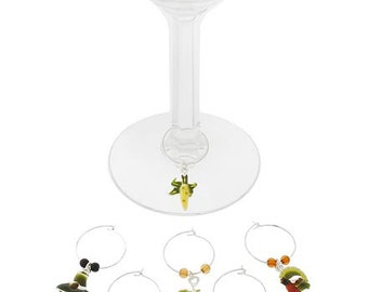 Thanksgiving Dinner Fall Wine Charms Set of 6