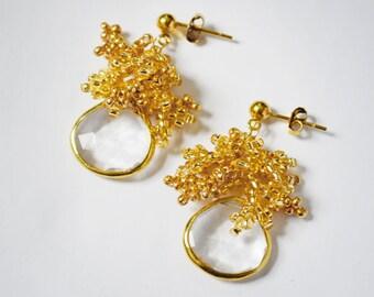 Gold Crystal Earrings, Natural Crystal Earrings, Large Crystal Earrings, Bohemian Earrings, Seed Bead Earrings