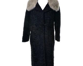 Schiaparelli Vintage Black Persian Curly Lambswool Coat Mink Collar