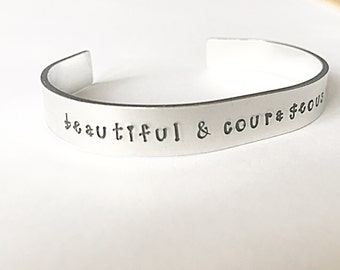 Courageous Cuff Bracelet, Courage Bracelet, Hand Stamped Cuff Bracelet, Inspiration Jewelry, Wife Gift, Gift For Women