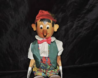 Vintage German Pinocchio Wood Doll Folk Art Jointed 18 in Red Hat Clothes Painted Face