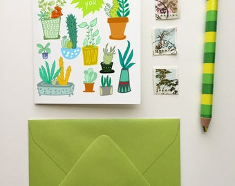 Thank You Cacti- Blank Greeting Card