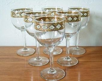 Vintage Culver Valencia Wine / Cordial Glasses Set of 6 Gold Rim Wine Glasses Stemware Hollywood Regency Mid Century Mad Men Green Diamonds