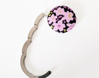 Handbag Hook, Purse Hook Hanger, Bag Hook, Folding Purse Hanger in Pink Floral