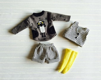 Girlish - Black Stripes Set for Blythe doll - dress / outfit