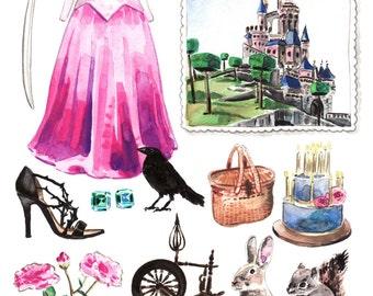 Sleeping Beauty Aurora Costume Giclee Print of Original Watercolor Disney Princess Castle Dress Classic Fairytale Storybook Disney World