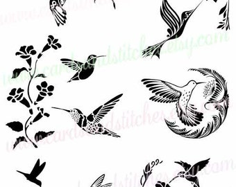 hummingbirds svg hummingbirds vector digital cutting file silhouette ...