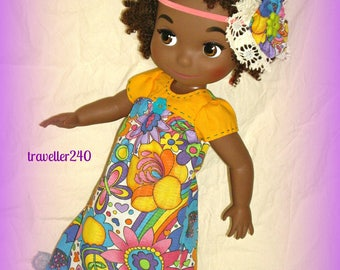 "Multicolor Floral Maxi Dress for 16"" Disney Animator Dolls, Handmade by traveller240, Matching Headband ""Flower Power!"""