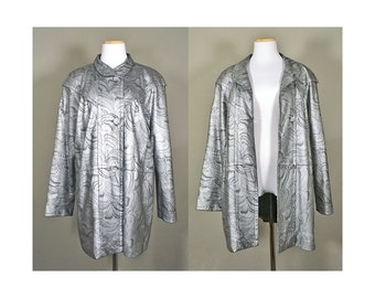 SILVER Leather Coat + Vintage 80s Metallic Silver Leather Jacket + Silver Black Swirl Leather Jacket + Shiny Metallic Leather Coat + GLAM +