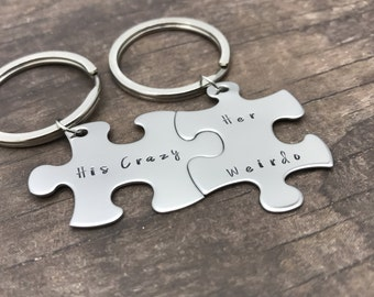 His Crazy her Weirdo Keychains with Melody Font, couples keychains