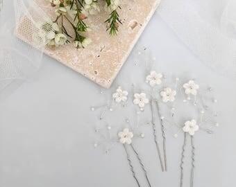 Ivory flower wedding hair pins, Ivory flower bridal hair pins, silver flower spray hair pins, Spray hair pins
