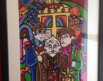 """The beatles yellow submarine doctor who """"day of the doctor"""" parody framed canvas artwork 11x14"""