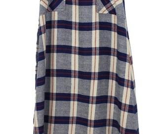 Wool Plaid Wrap Skirt