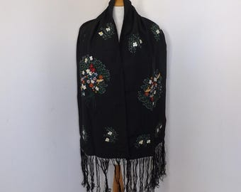 Vintage 1950s black embroidered embroidery black scarf stole wrap floral flower pattern with tassel edging