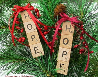 HOPE Christmas Ornament - Scrabble Ornament - stocking stuffer, package tie-on, co-worker gift - Your choice of red or burgundy berries/bow