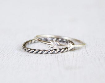 Sterling Silver Minimalist Ring Set - Silver Twist Ring and Silver Arrow Ring - Thin Band - Tiny Arrow Ring - Simple Jewelry - Stacking Ring