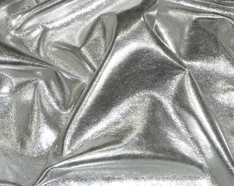 """Metallic Leather 8""""x10"""" Very Silver Velvety SOFT and THIN Cowhide 1.75 oz / 0.7 mm  PeggySueAlso™ E1500-15"""