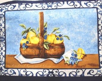 SWEET TART PARFAIT Lemon Basket Fabric Panel Pillow Squares Quilting