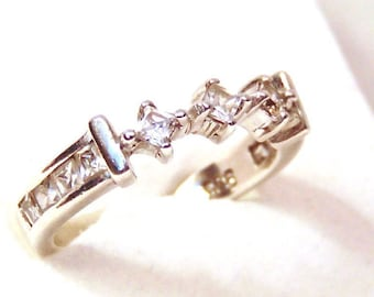 Sale! Sterling Silver Ring Anniversary Wedding Ring, Size 6, Clear Stones