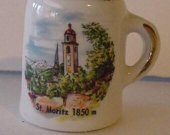 "Vintage Travel Souvenir ""St. Moritz 1850"" Porcelain Toothpick Holder Salt Jar Mini Mug"