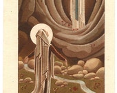 Art Deco Saint Bernadette & Our Lady of Lourdes in Grotto Antique French Holy Prayer Card Christian Catholic from Vintage Paper Attic