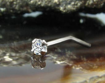 14K, 18K, 24K, Solid White Gold Nose Ring L Bend L Shape 1.5mm, 2mm, 2.5mm, 3mm Genuine Diamond. Choose Your Gauge. 22G, 20G, 18G