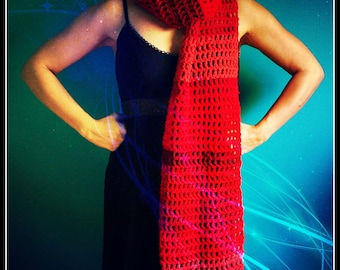 Crochet Scarf,Knit Scarf,Oversized Scarf,Neck Scarf,Super Scarf,Cowl,Neck Warmer,Neck Wrap,Blanket Scarf,Womens,Mens,Fringe,Red,Gift