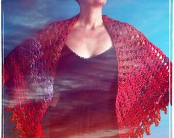 Crochet Triangle Shawl,Knit Shawl,Handmade Wrap,Shrug,Bolero,Cape,Womens Clothing,One Size,Red,Orange,Purple,