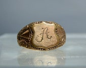 "Antique 10k Gold Monogram Ring Size 8 Victorian Jewelry Etched Letter ""A"" Design DanPickedMinerals"