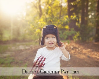 Crochet Hat Pattern / Crochet Pattern / Aviator Hat Pattern 023 / Bomber Hat Pattern / Unisex Pattern