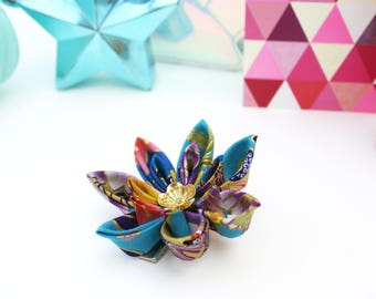 Japanese Hair Accessory -  Blue Hair Flower - Turquoise Kimono Hair Clip - Blue Wedding Hair Flower - Japanese Hair Flower - Blue Kanzashi