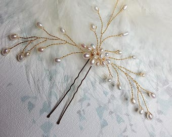 Fresh water Pearl Spray Gold Bridal Wedding Hair Pin Gypsophila Boho Headwear Hairpin