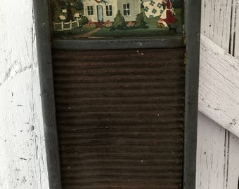 Washboard painted folk art vintage washboard, wood and tin, primitive, rustic, country, cottage, laundry room,