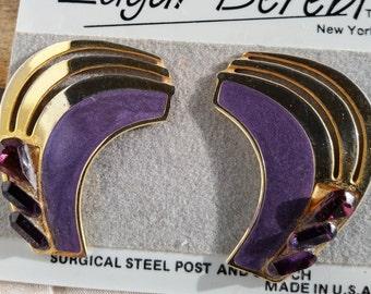 Vintage Edgar Berebi Purple Enamel Rhinestone Earrings, Mod Large Enamel Posts