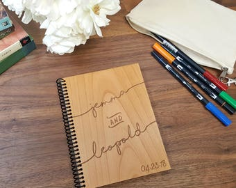 Custom Wood Notebook - Wedding Guest Book with Names and Date - Laser Engraved Wood - Lined or Blank Pages