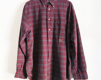 Sz. L Maroon Tommy Hilfiger Long Sleeve Plaid Buttondown Button Up 90s Vintage Large / XL