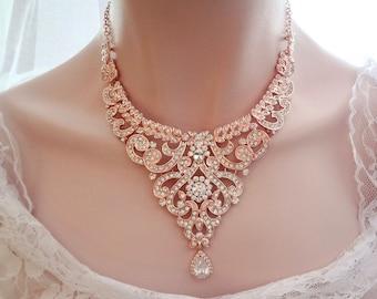 Rose gold necklace, Rose gold crystal necklace, Rose gold bib necklace, Wedding necklace,Brides necklace,Rose gold,Statement necklace, MIA