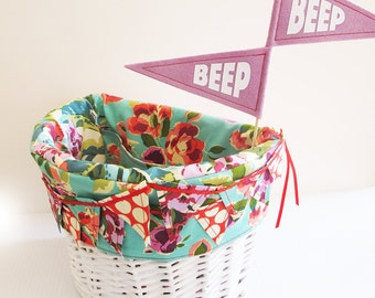 Children's Bicycle Basket Liner, Electra Basket Liner, Bike Basket Liner, Custom, Made-to-order