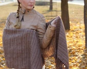Brown handwoven wrap merino alpaca wool scarf for her rustic woodland