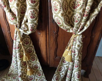 Vintage French pair of tapestry brocade floral window curtains drapes drapery panels 1950s French window drapery curtains w wreaths of roses